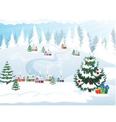 winter holidays village vector image