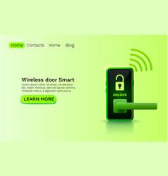 Wireless door smart protection device application vector