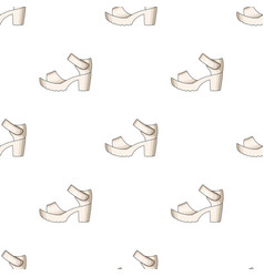 Women summer white sandals on a bare foot vector