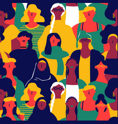 womens day seamless pattern of diverse woman faces vector image