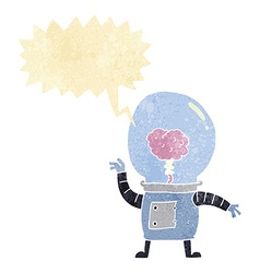 cartoon robot cyborg with speech bubble vector image