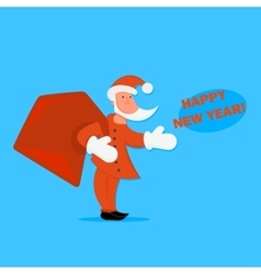 cartoon Santa Claus with a bag of gifts in vector image