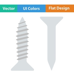 Flat design icon of screw and nail vector image