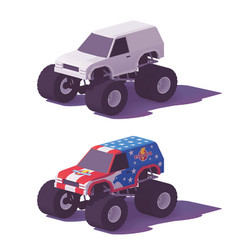 low poly monster truck vector image