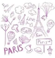 Paris Sketch Symbols Set vector image