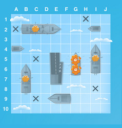 sea battle game elements with effects cartoon vector image vector image
