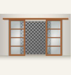 two sliding wooden doors vector image vector image