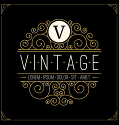 vintage luxury logo line art retro logotype vector image