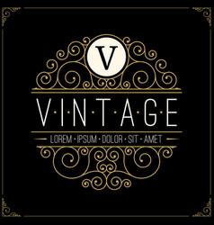 vintage luxury logo line art retro logotype vector image vector image