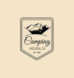camp logo hand drawn vintage tourist label vector image
