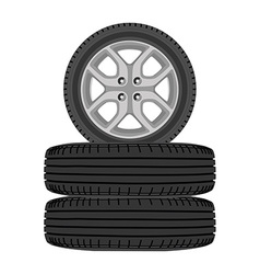 Realistic car wheels vector image vector image