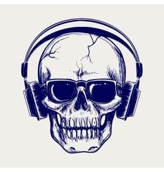 Skull sketch with headphones vector image