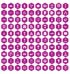 100 business career icons hexagon violet vector image vector image