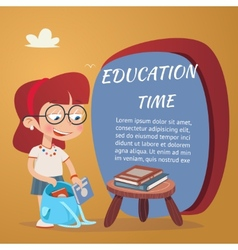 Beautiful Education Poster Isolated on Orange vector image vector image