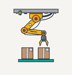 Factory robotic arm vector image