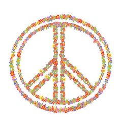 floral peace symbol vector image vector image