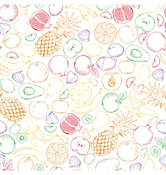 Fruits doodle with color outline seamless vector image