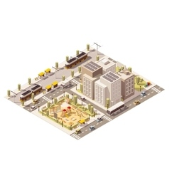 isometric low poly commuter town vector image vector image