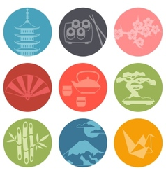 Japan icons and symbols set vector image