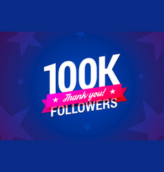100k followers card vector image vector image