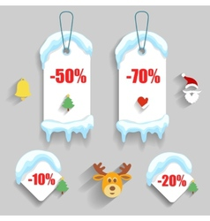 Colorful winter Christmas sale stickers and tags vector image