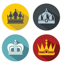 Flat crown icons with long shadow on color vector image