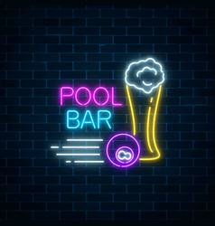 Glowing neon sign of bar with pool including vector