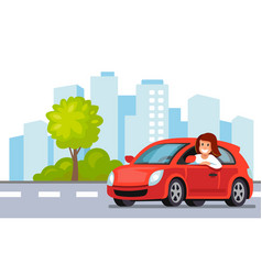 riding on the car happy woman rides car in city vector image vector image
