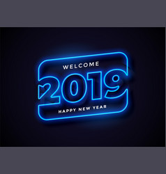 2019 in neon style background vector image