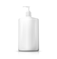 3d realistic white plastic bottle with pump vector