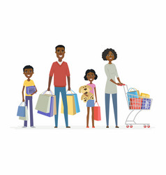African family goes shopping - cartoon people vector