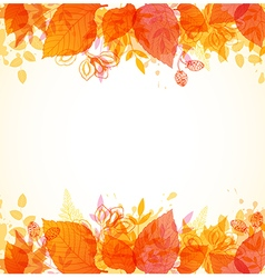 Autumn background with orange and yellow leaves vector