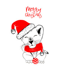 baby-lion-monochrome christmas vector image