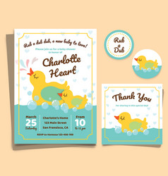 Baby shower invitation card with duck vector