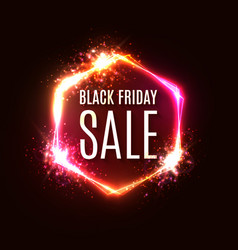 black friday neon sign banner discount card design vector image