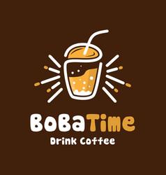 bubble drink logo design vector image