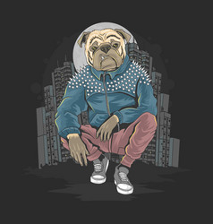 Bull dog pit bull gangster at city artwork ve vector