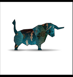 Bull with candlesticks vector