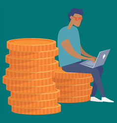 business man sitting on big pile stacked money vector image