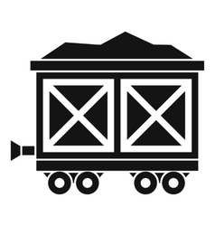 Cart on wheels with gold icon simple style vector