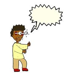 Cartoon terrified boy with speech bubble vector