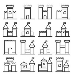 castle icon line style set on white background vector image