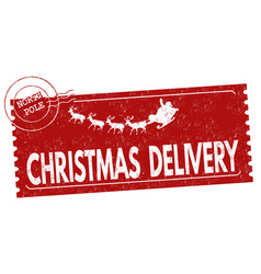 christmas delivery grunge rubber stamp vector image