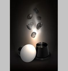 coffee in capsules for espresso machine black vector image