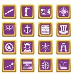 Columbus day icons set purple vector