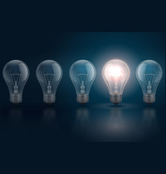 Creative idea concept with light bulbs and one vector