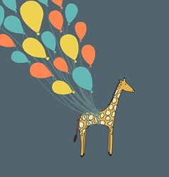 Cute hand drawn giraffe flying on the balloons vector image