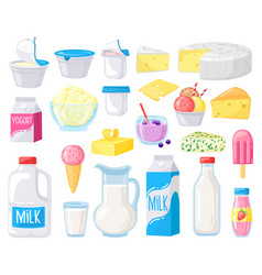 Dairy products cartoon milk cheese butter sour vector