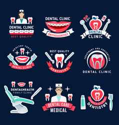 Dentistry and dental care clinic symbols vector
