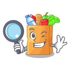 Detective food pouch bags isolated on mascot vector